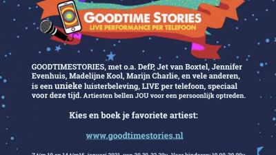 Goodtimestories, gratis live performance per telefoon met o.a. Madelijne Kool