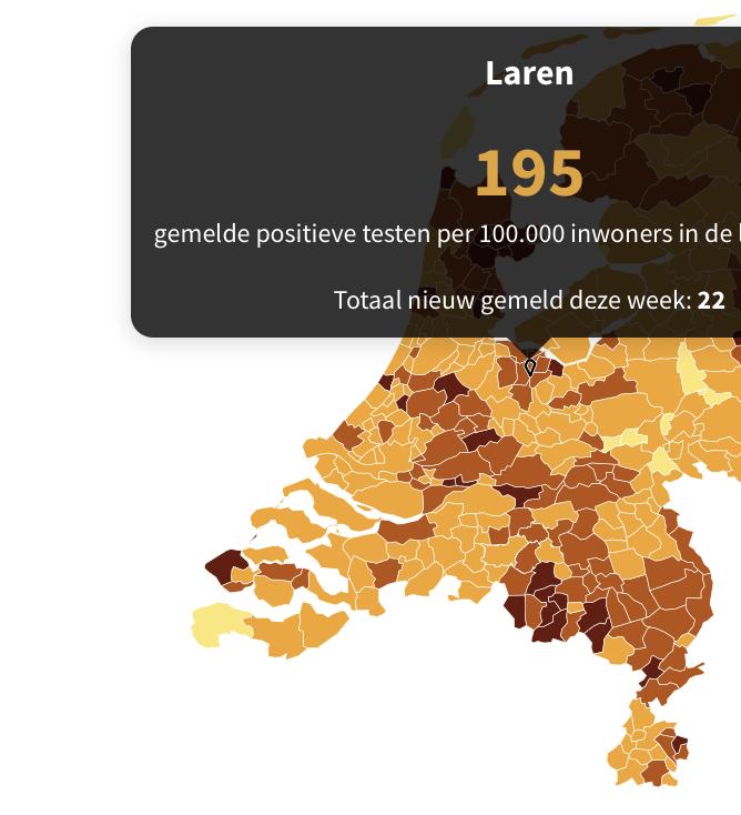 Besmettingscijfer Laren: 22 nieuwe gevallen