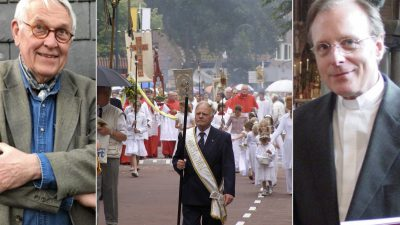 Teun Koetsier in gesprek met pastoor Jan Vriend over de Sint Jansprocessie