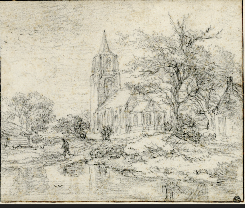 Bol an 186: Oudste prent  van Laren  door Jacob van Ruisdael  uit ca. 1670 ontdekt in Parijs!